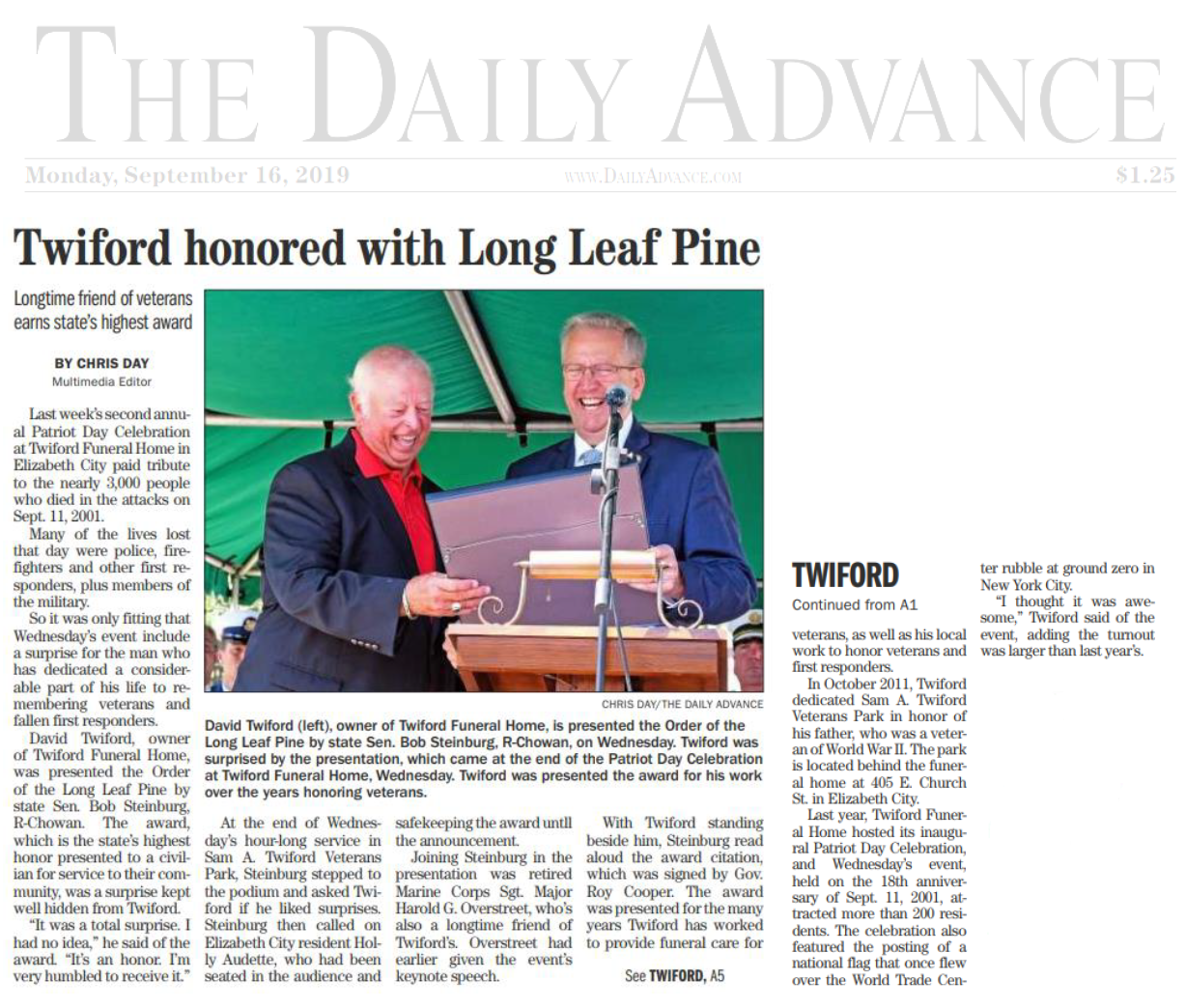 Twiford honored with Long Leaf Pine