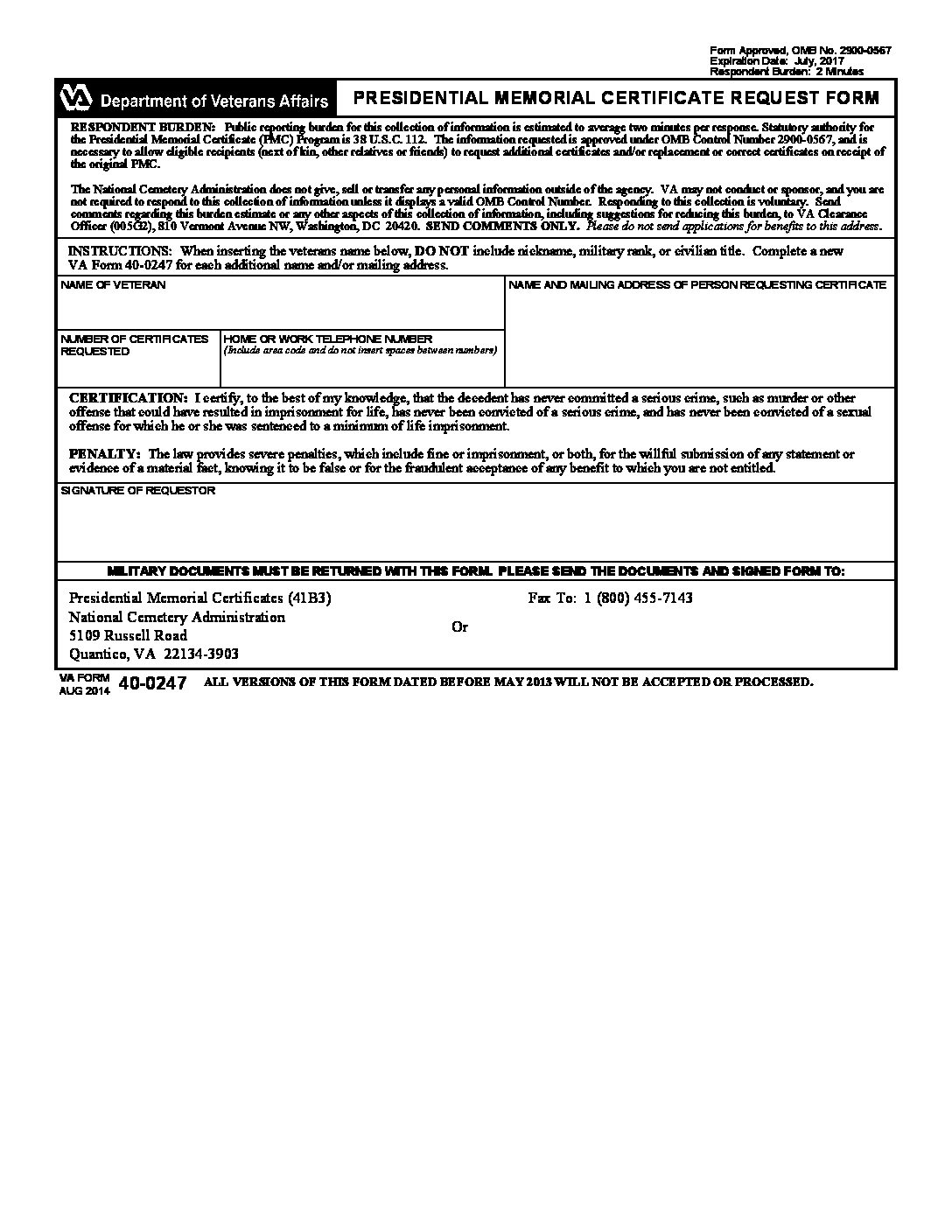 Request For Presidental Memorial Certificate Twiford Funeral Homes