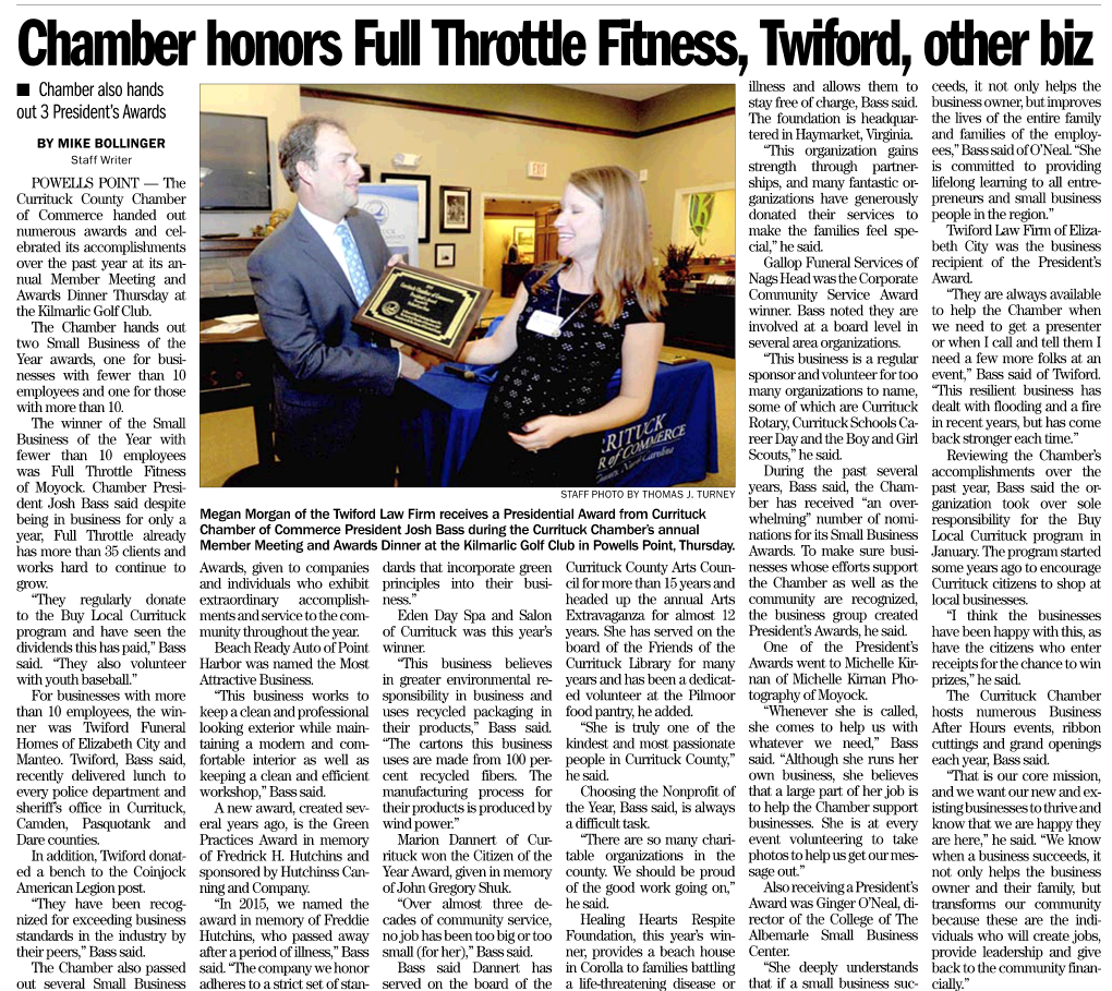 Twiford named Business of the Year by Currituck Chamber